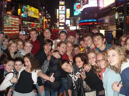 The students (German and American) living it up in New York City. (Foto: Bev Tilley)